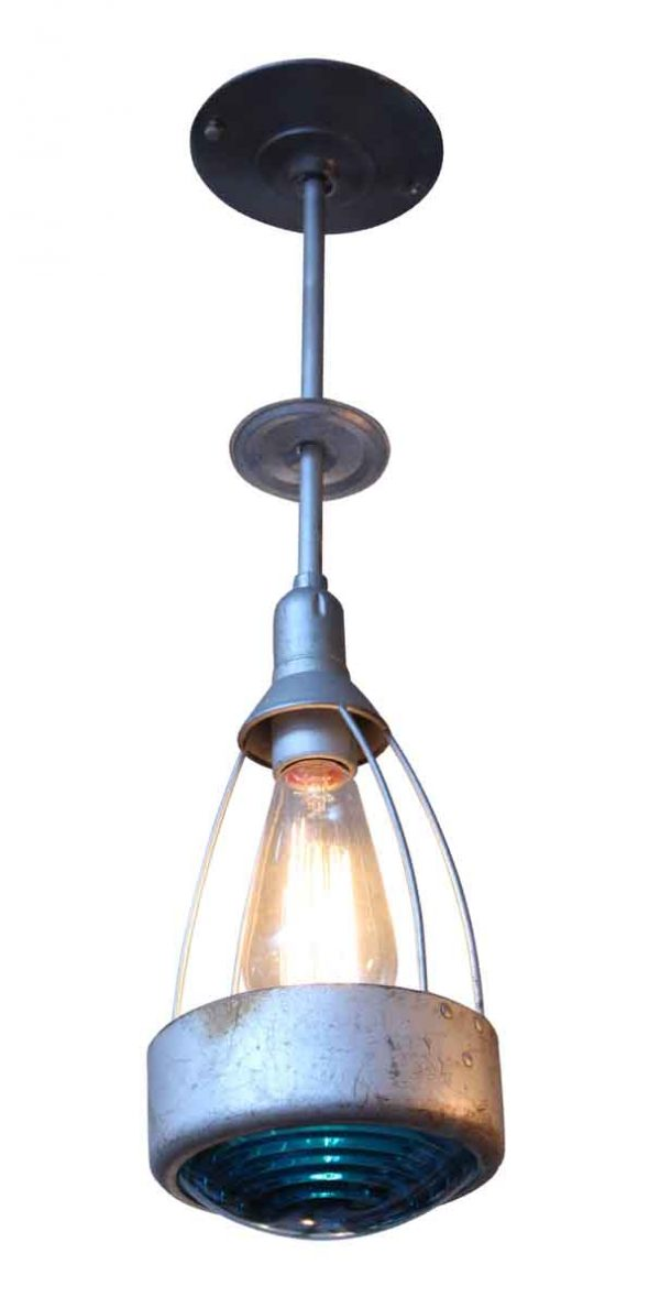 Industrial & Commercial - Metal Industrial Light with Teal Glass