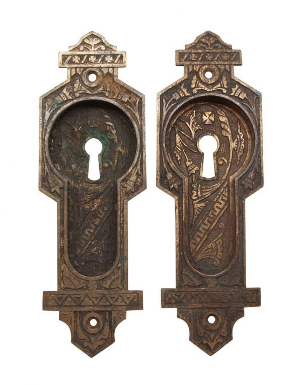 Pocket Door Hardware - Bronze Recessed Eastlake Pair of Pocket Door Plates