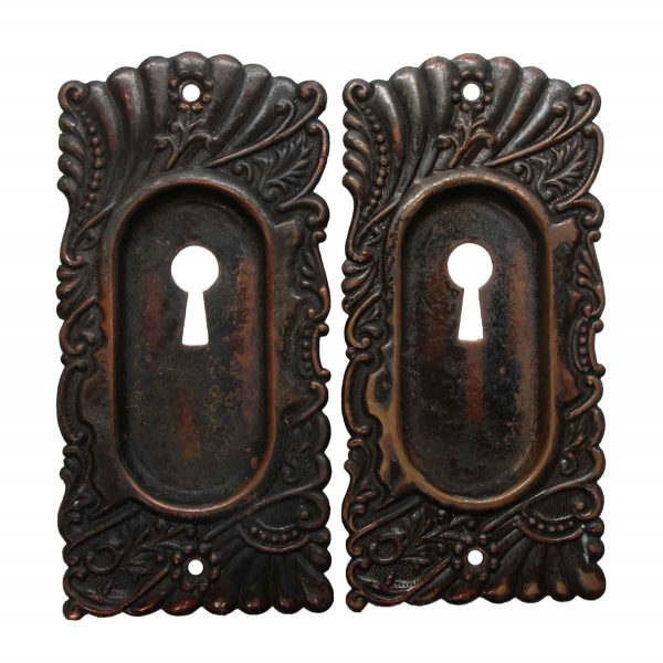 Pocket Door Hardware - Pair of Keyhole Roanoke Brass Pocket Door Plates