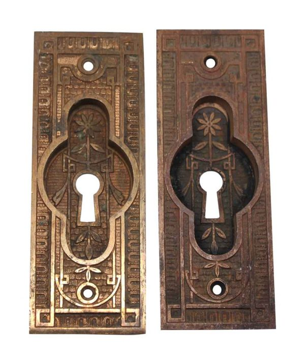 Pocket Door Hardware - Pair of Vernacular Bronze Pocket Door Plates