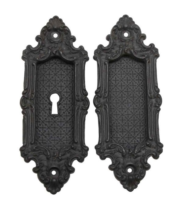 Pocket Door Hardware - Pair of Yale & Towne Cast Iron Pocket Pull Plates