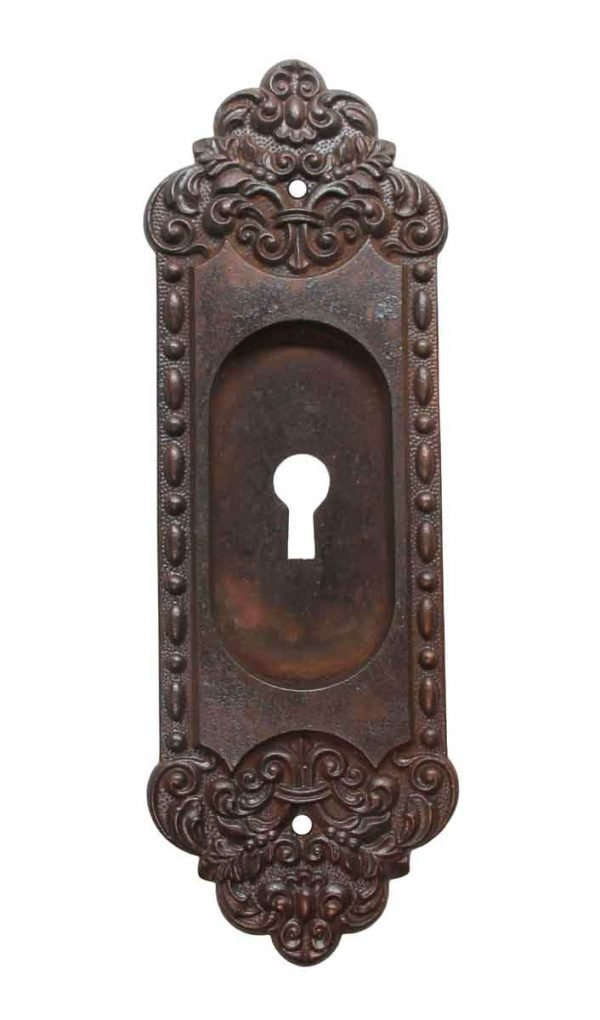 Pocket Door Hardware - Victorian Cast Iron Keyhole Recessed Pocket Door Plate