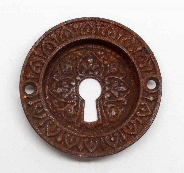 Pocket Door Hardware - Victorian Cast Iron Round Ornate Pocket Door Pull