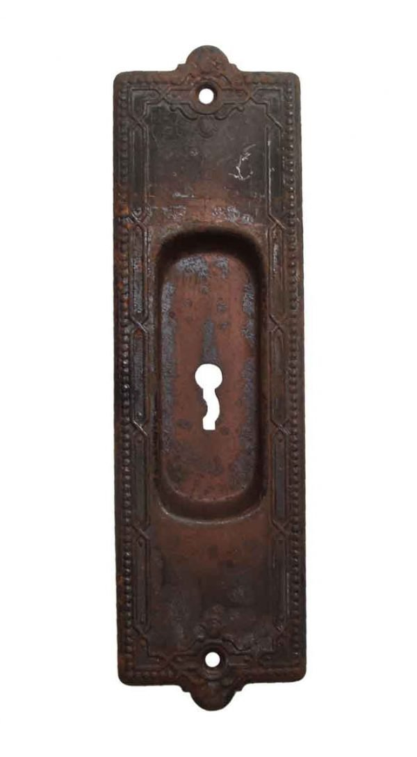 Pocket Door Hardware - Victorian Steel Keyhole Pocket Door Plate