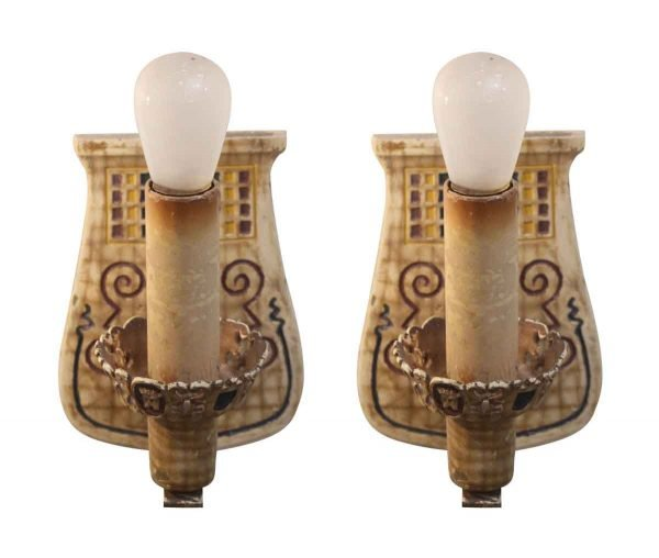 Sconces & Wall Lighting - Pair of Metal Sconces with Colorful Detail