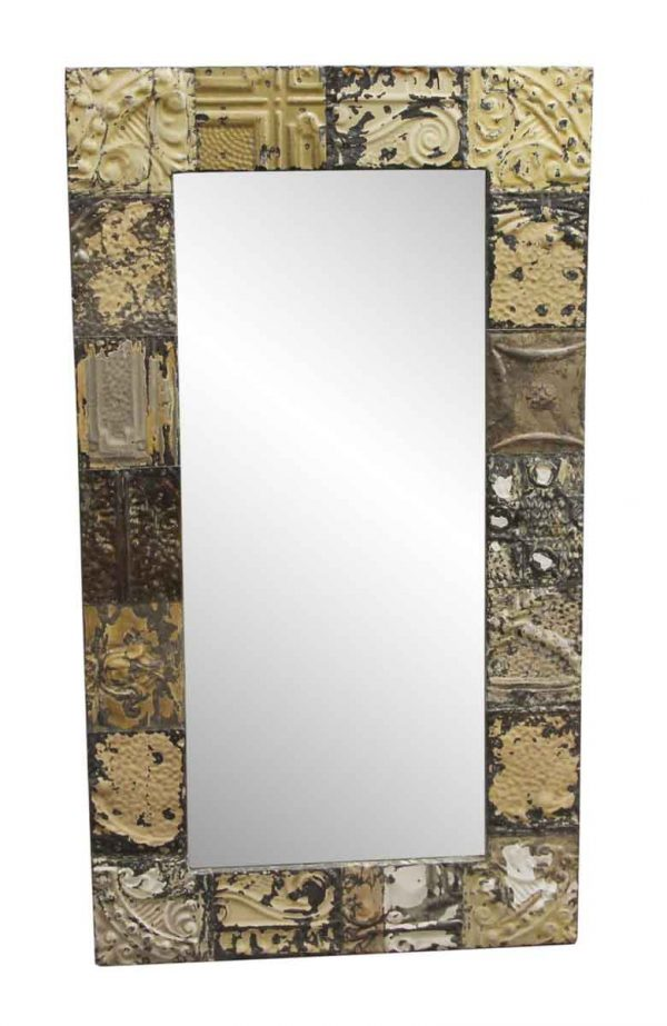 Antique Tin Mirrors - Tan & Brown Mixed Pattern Tin Ceiling Mirror
