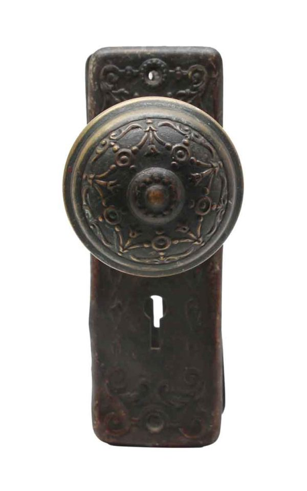 Door Knob Sets - Ornate Pressed Brass Doorknob Set