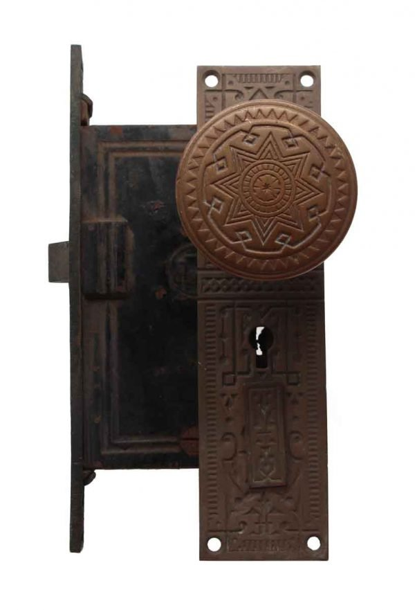 Door Knob Sets - Trenton Bronze Entry Door Knob Plate & Lock Set