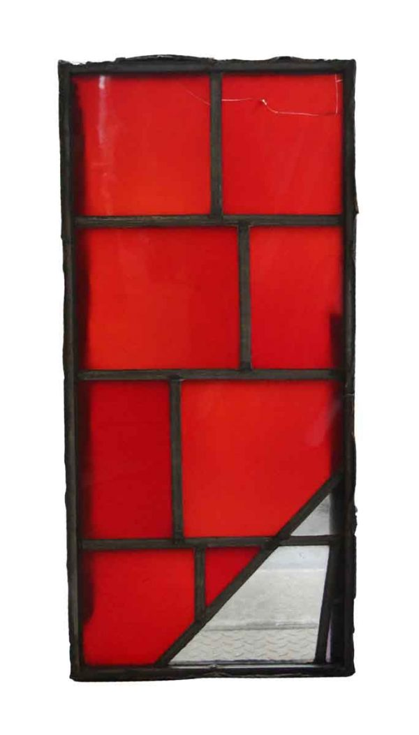 Exclusive Glass - Robert Sowers Modern Art Red & Clear JFK Glass Window