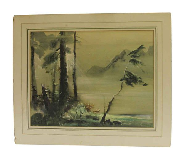 Paintings - Authentic Matted Imaginary Landscape No. I Painting from The Bambi Movie Illustrator Tyrus Wong