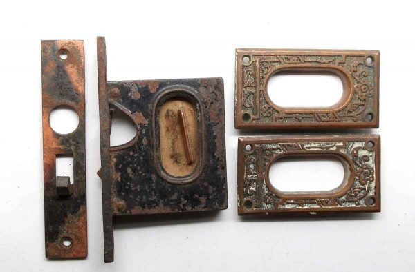 Pocket Door Hardware - Cast Iron Mortise Lock & Pocket Door Plate Set