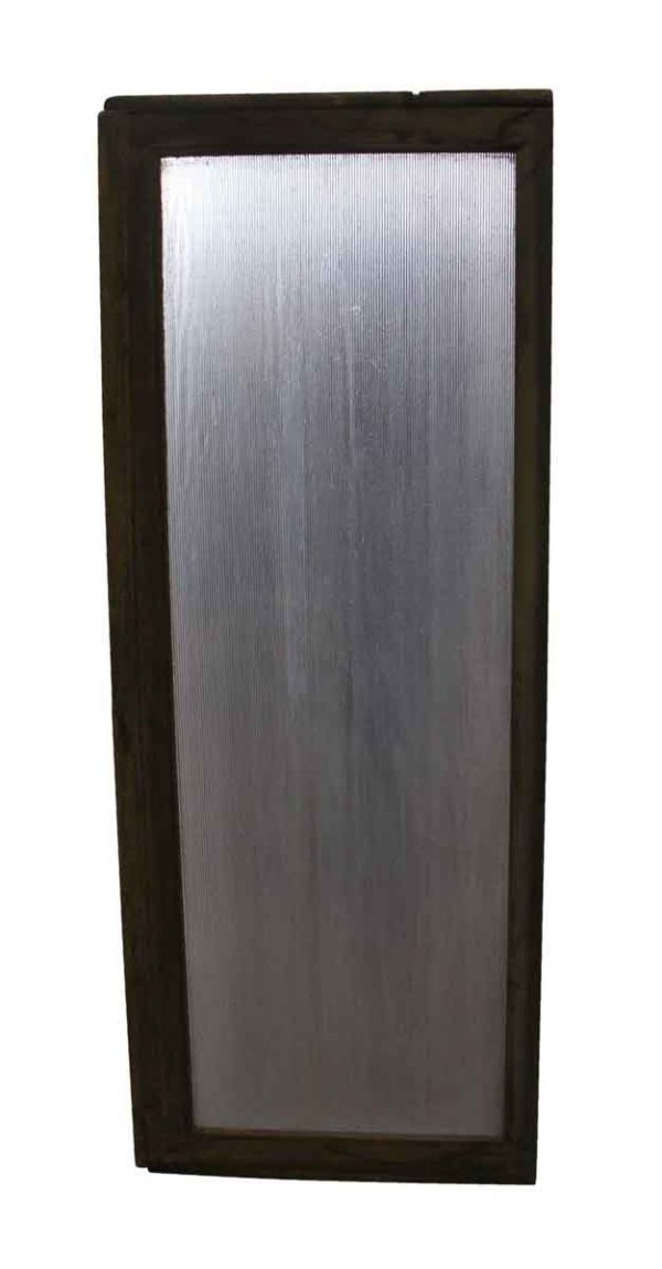 Reclaimed Windows - Ribbed Glass Wood Frame Window with Purple Tint