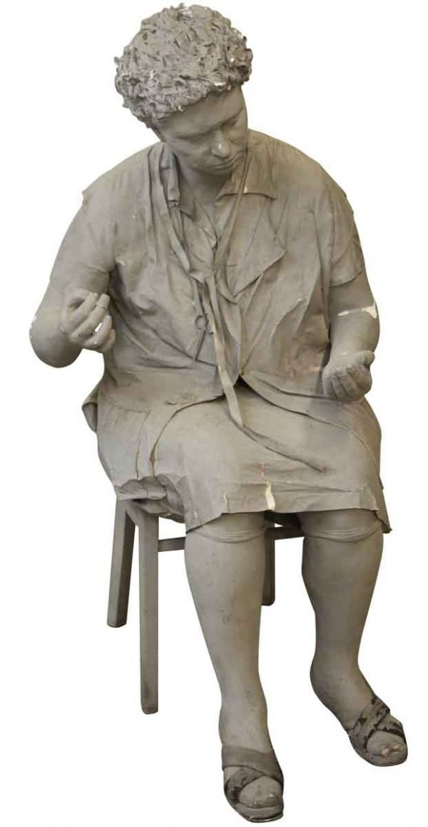 Statues & Fountains - Life Like Statue of a Sewing Woman in a Chair