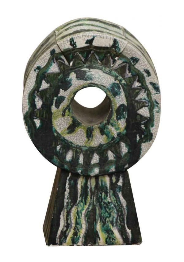 Statues & Sculptures - Ceramic Sculpture with Deep Green and White Crackle Glaze