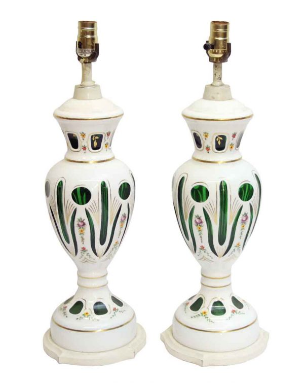 Table Lamps - Pair of Bohemian Opaline Glass Overlay Cut to Green Lamps