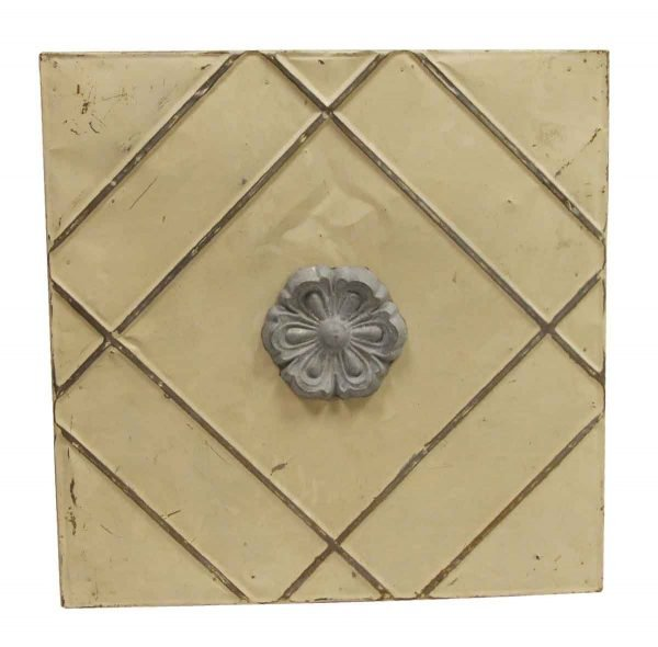 Tin Panels - Tan & Gray 3D Floral Tin Panel