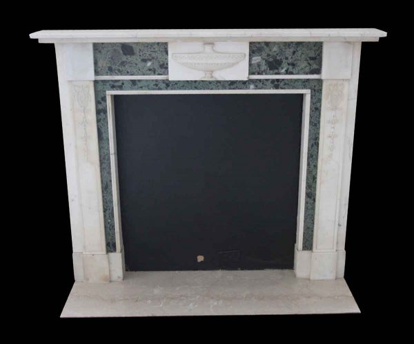 Waldorf Astoria - Statuary White & Verde Antico Green Marble Mantel from The Herbert Hoover Room of The Waldorf Astoria