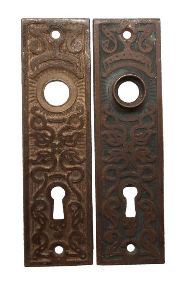 Back Plates - Pair of Bronze Aesthetic Keyhole Door Back Plates