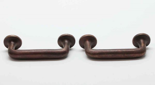 Cabinet & Furniture Pulls - Cast Bronze Pair of Round Back Drawer Pulls