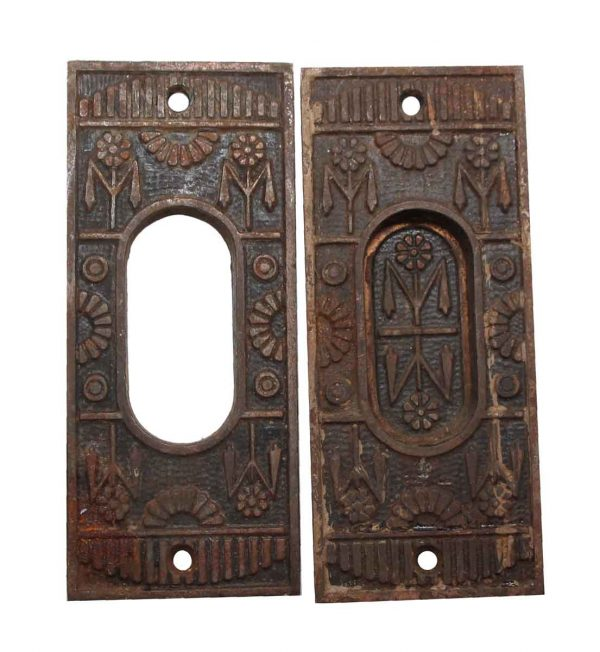 Pocket Door Hardware - Pair of Cast Iron Pocket Aesthetic Door Pulls