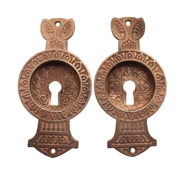 Pocket Door Hardware - Pair of Polished Bronze Pocket Door Keyhole Pulls