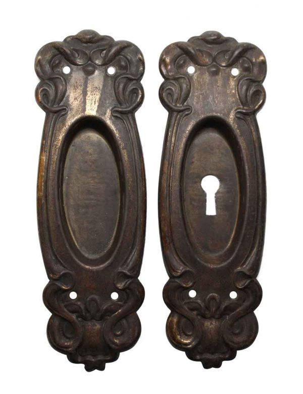 Pocket Door Hardware - Pair of Steel Art Nouveau Pocket Door Plates