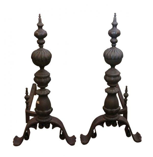Andirons - Pair of Antique Oversized Bronze Andirons