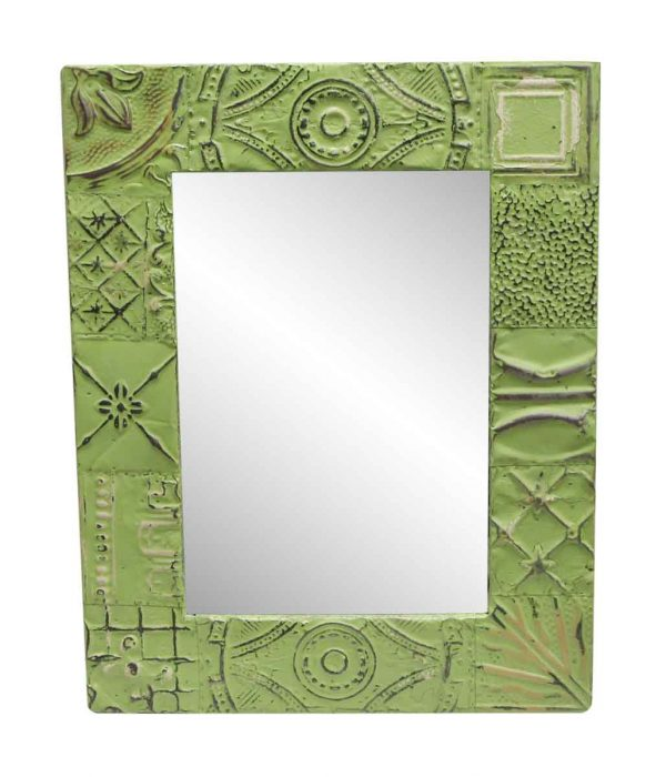 Antique Tin Mirrors - Lime Green Mixed Pattern Antique Tin Mirror