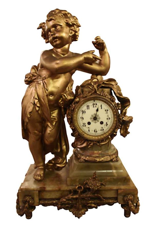 Clocks  - Bronze Mantel Clock with Onyx Base