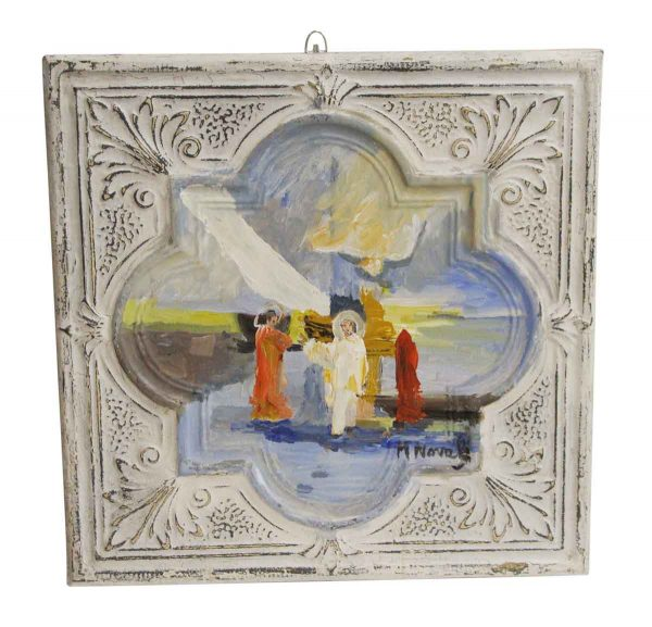 Hand Painted Panels - Religious Hand Painted Acrylic Tin Panel by Mladen Novak