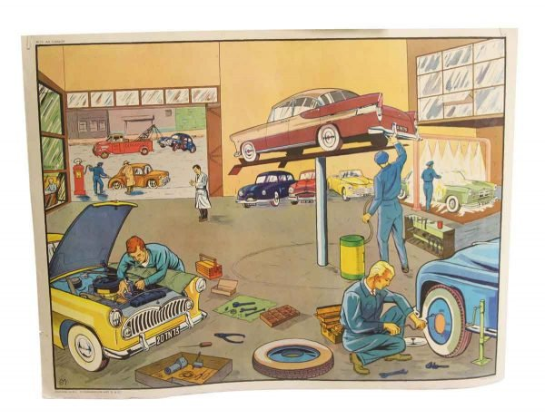 Posters - Double Sided French Mechanic & Butcher Shop School Poster