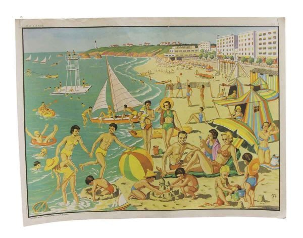 Posters - Double Sided Vintage French Beach Fun & Harvesting School Poster