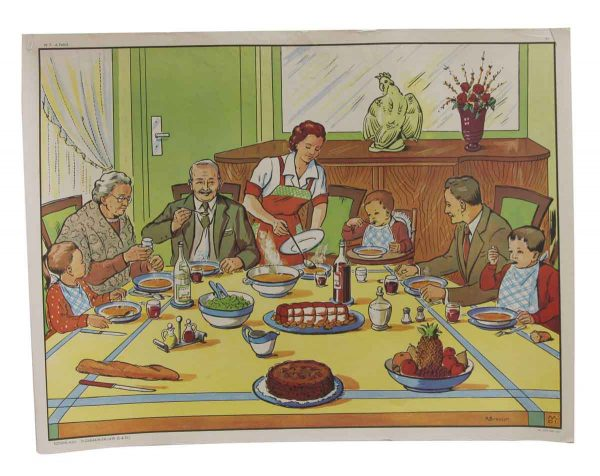 Posters - Double Sided Vintage French Dinner Time & Family School Poster