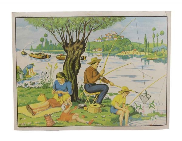 Posters - Double Sided Vintage French Fishing & Gardening School Poster