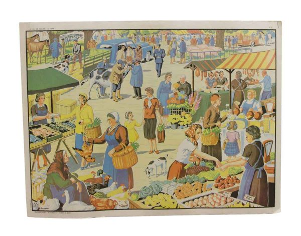 Posters - Double Sided Vintage French Market & Sports School Poster