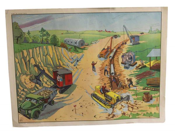 Posters - Double Sided Vintage French Public Works & Airport School Poster
