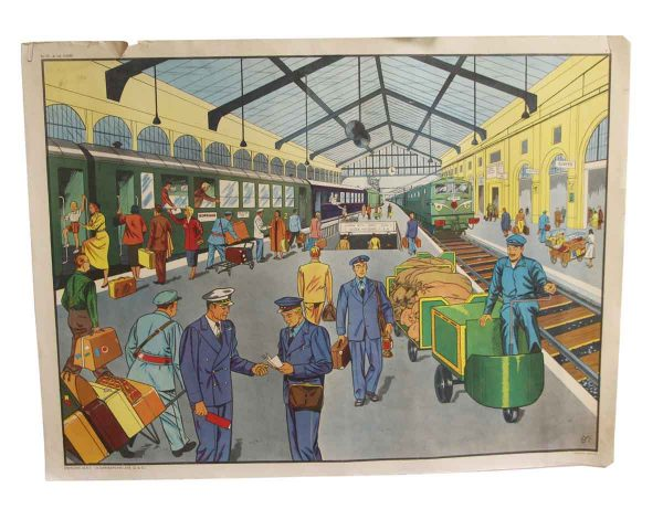 Posters - Double Sided Vintage French Train Station & Traveling School Poster