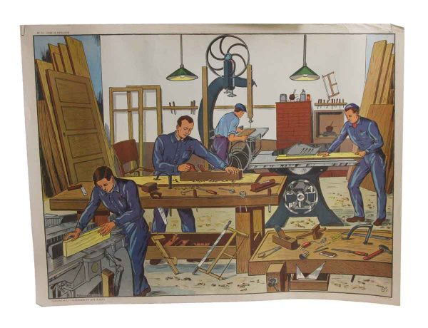 Posters - Double Sided Vintage French Wood Shop and Christmas School Poster