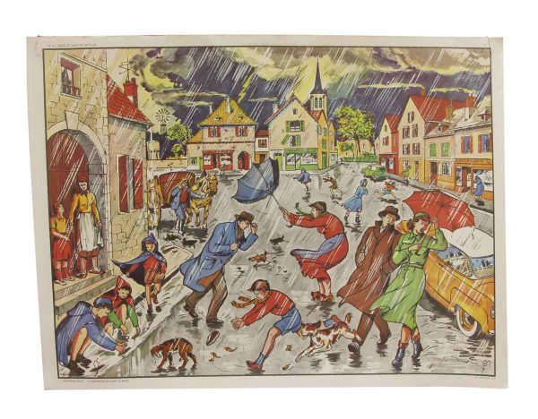 Posters - Double Sided Vintage Rainy Weather & Hunting School Poster