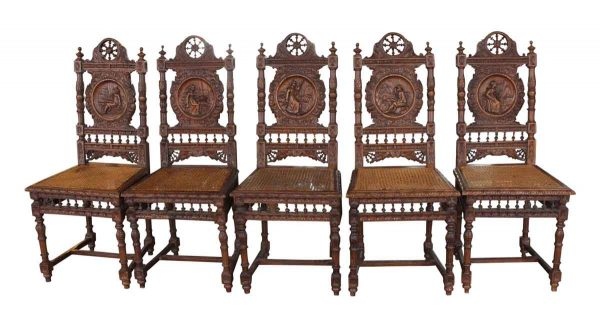 Seating - Set of 5 Antique English Renaissance Carved Wooden Chairs