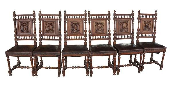 Seating - Set of 6 Antique Renaissance Carved English Oak Dining Chairs