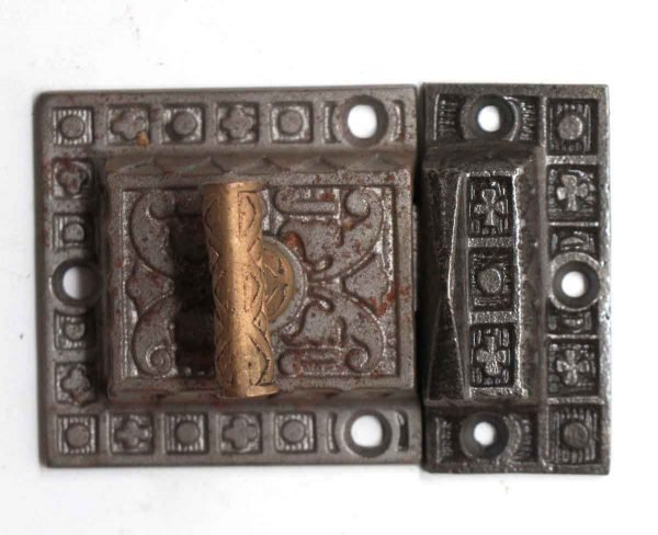 Cabinet & Furniture Latches - Antique Cast Iron Cabinet Latch with T Bronze Handle