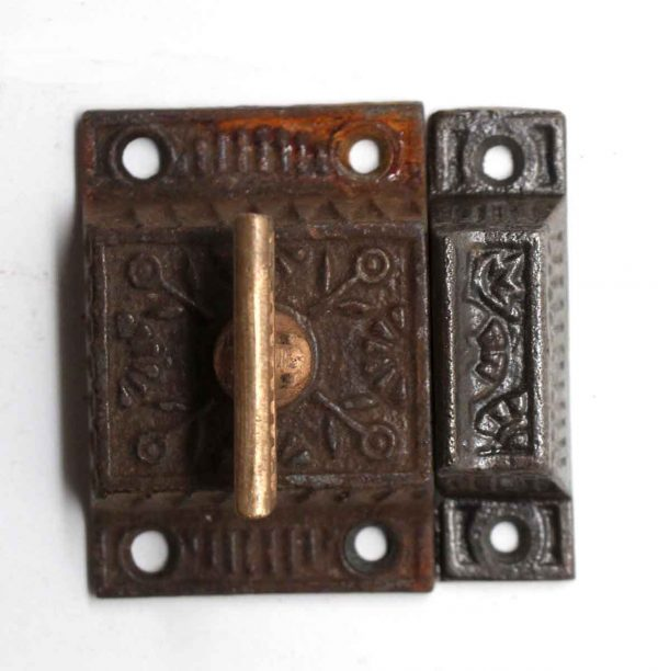 Cabinet & Furniture Latches - Antique Cast Iron Latch with Bronze T Handle