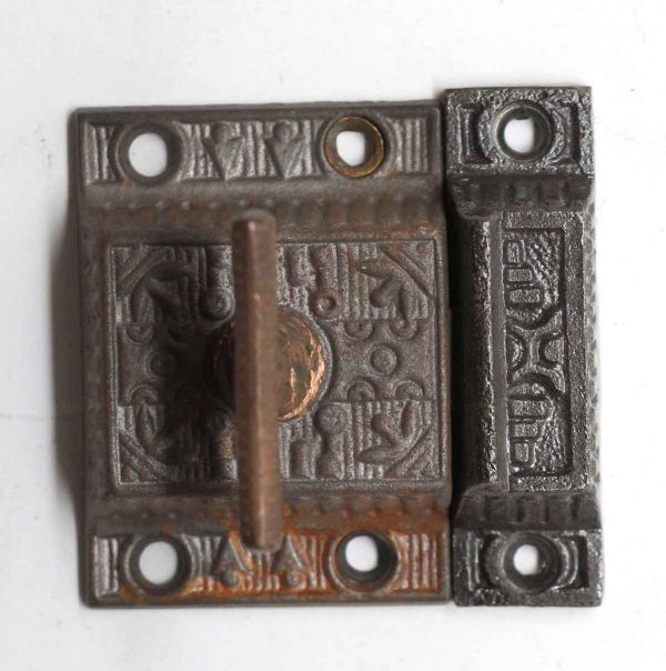 Cabinet & Furniture Latches - Antique Cast Iron Ornate Cabinet Latch with T Bronze Handle