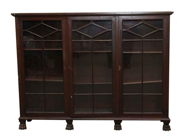 Cabinets - Antique Mahogany Shelving Unit with Claw Feet