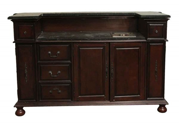 Cabinets & Bookcases - Salvaged Wood & Marble Carved Small Bar with Back Storage
