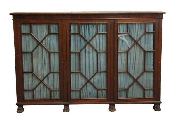 Cabinets - Mahogany Claw Foot Breakfront Bookcase with Glass Doors