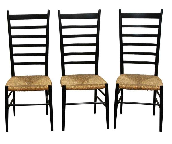 Kitchen & Dining - Set of 3 Black Ladder Back Chairs with Wicker Seat
