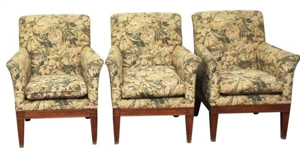 Kitchen & Dining - Set of Three Floral Upholstered Chairs