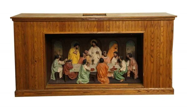 Religious Antiques - Wooden Last Supper Carved Altar Piece